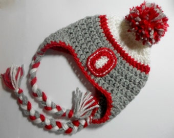 Crochet (Infant-Adult) Ohio State Inspired Team Colors Hat Baby Adult Earflap Hat Boys Girls Winter Hat OSU Fan Tassel Hat