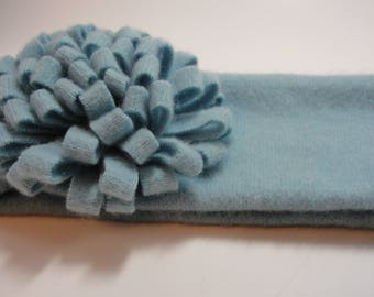 Upcycled Light Blue Cashmere Earwarmer Headband with Flower
