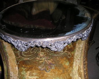 Vintage Footed gold/silver metal Framed French Boudoir glass Ornate Plateau Tray/display Shabby Chic Fab.