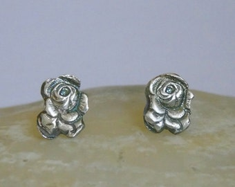 Precious Metal Clay Earrings. Silver Earrings. Minimalist Stud Earrings.