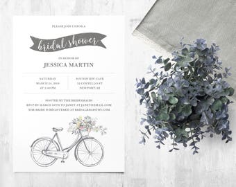 Bicycle wedding shower invitations etsy bicycle bridal shower invitation printable filmwisefo Choice Image