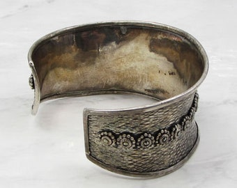 Vintage 925 silver - bezel set jasper & marcasite concave cuff bracelet - b1072