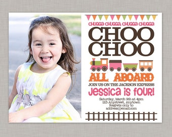 Girl Train Invitation,Train Birthday Invitation,Train Birthday Party Invitation,Train Birthday Invitation Digital,Train Invitation Printable