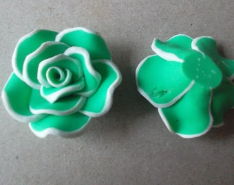 x 2 large green flower beads, white polymer 30 x 18 mm
