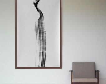 Original large black and white abstract ink art, extra large abstract wall art, wave art, nature, black white abstract, minimal art, zen art