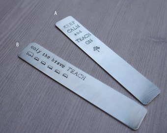 Teacher bookmark - hand-stamped - gift for teachers - personalized bookmark