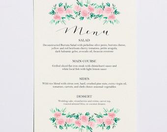 Watercolor Rose, Floral Menus (Wedding / Rehearsal Dinner/ Reception Menu) kraft rustic wedding, garden wedding