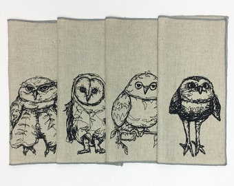A Set of Owls (4 different)- Lunch Box Napkins - Printed