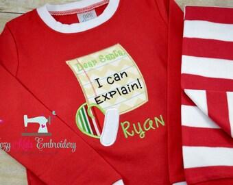 Christmas pajamas boy girl kid child baby toddler infant embroidery applique custom monogram name personalized dear santa I can explain