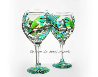 Hummingbirds and Flower Blossoms Hand Painted Wine Glass 2 -20 oz. Wine Glasses Birds Aqua Blue Lime Green Flowers Personalized Gift Wedding