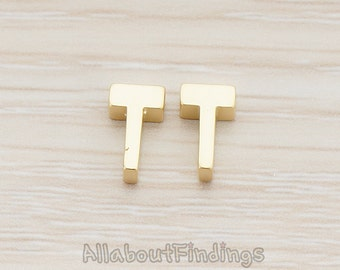 PDT198-T-MG // Matte Gold Plated 3D Initials Pendant, 2 pc