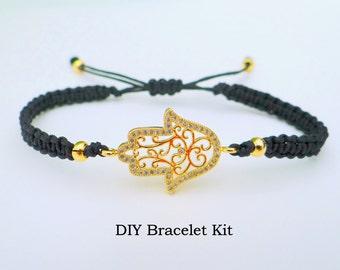 DIY Bracelet Kit - Hamsa Macrame Bracelet Tutorial