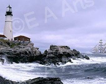 "Portland Head Light- Maine- ""Tall Ship,"" Cape Elizabeth, Maine-Maine Panoramic Photography-Maine Art-Coastal Maine-Lighthouse Print"