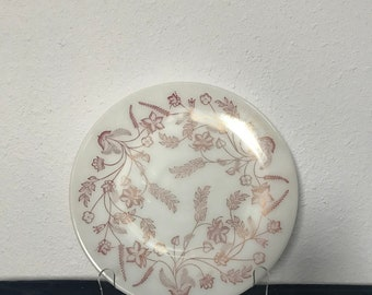 Federal Glass Milk Glass Plate with Flowers and Leaves