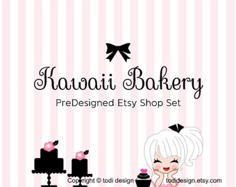 Kawaii Bakery- PreDesigned Etsy Shop Banner set