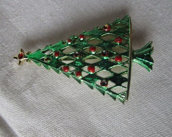Vintage Costume Christmas Tree with Star Tree Topper Brooch