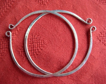Large Hand Forged Silver Hoops for Non Pierced Ears