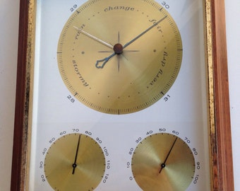 Vintage Airguide Barometer large square wood box made USA gold trims