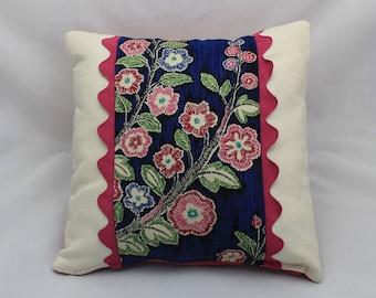 Rick Rack Floral Pillow