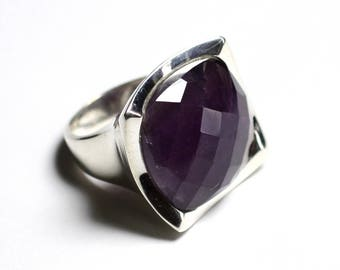 N222 - faceted Amethyst 925 sterling silver ring square 20mm