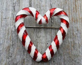 Candy Cane Heart Brooch