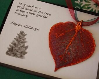 Leaf Ornament Copper, Real Leaf Aspen, Aspen Leaf Extra Large, Ornament Gift, Christmas Card, ORNA69