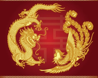 Dragon phoenix chinese vector Chinese Wedding