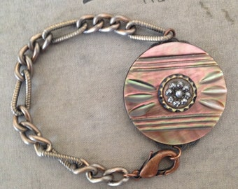 Antique Button Bracelet - Carved Mother of Pearl