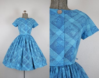 1950's Blue Diamond Print Jonathan Logan Cotton Day Dress / Size XSmall