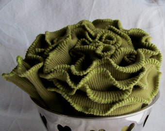 Moss Green Lettuce Edge Ruffle Rib Knit Cowl Infinity Scarf