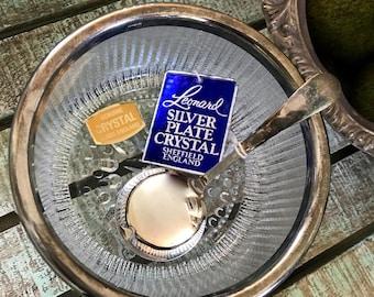 Leonard Silver Plate Crystal Condiment Bowl with Silverplate Spoon w/tags Farmhouse TYCAALAK