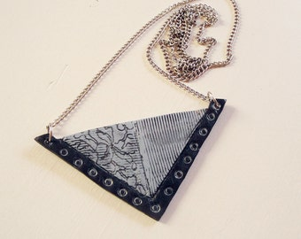 Minimal, Geometric Pendant Artisan, Triangular Polymer Clay in Grey/Blue and Charcoal. Length 39cm