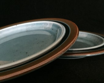 Meri Arabia Finland Meri bread & butter plates blue glaze vintage ceramic bb plates collectible pottery replacement Meri plates dining ware
