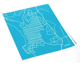 Carmel City Line Art Map / Pacific Coast California Street Map Art / 8x10 Giclee Print / Choose your color