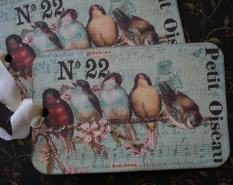 """4 French inspired bird tags. XL, 5"""" x 3 3/4"""""""