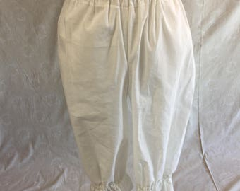 Bloomers Pantaloons Drawers Long Underwear Elastic and Drawstring Waist, Mid-calf length WHITE