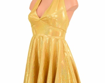 Gold Sparkly Jewel Holographic Halter Tie Back Fit and Flare Skater Dress - 155244