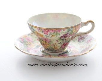 Vintage, Porcelain Tea Cup and Saucer by Lipper & Mann, Creations Japan, Chintz Pattern, Gifts for Her, Replacement Ca. 1947+