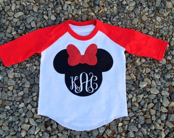 Disney Minnie Mouse Initial Raglan, Mickey Mouse Raglan, Mickey Baseball Shirt, Disney World, Disney Shirt, Initial Mickey, Initial Minnie