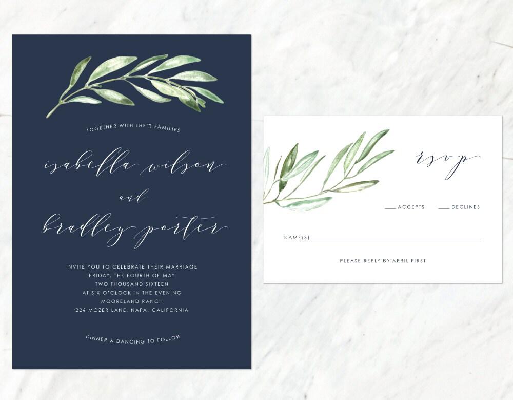 Organic Wedding Invitation Earthy Wedding Invitation Navy