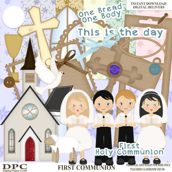 Communion Scrapbook Kit Digital Holy Communion Child