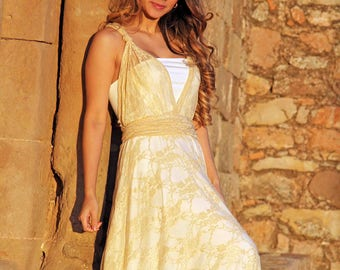Romantic lace bridal gown, sample sale ready to wear, golden, corded lace, with lace skirt.  LILLEO lace skirt