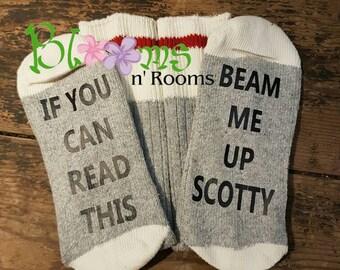 If you can read this socks, bring me wine socks, star trek, stocking stuffer