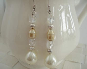 Sterling Silver Beaded Drop Earrings, Gold Pearl Dangle Earrings, CLEARANCE SALE