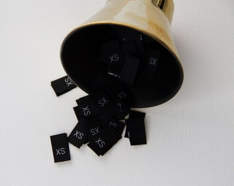 50 Black Size Tags. Sew in fabric Garment Size labels -  50 pcs