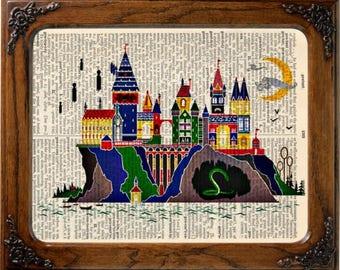 hogwarts art print on vintage dictionary page, harry potter art, harry potter  print, harry potter poster, harry potter decor, hogwarts art