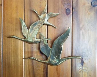 Mid Century Modern Brass Wall Art Flying Bird Ducks 1960s
