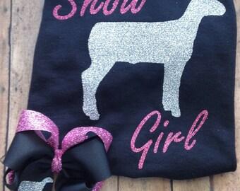Lamb Show Girl shirt and bow set