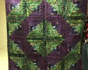 Jumbo log cabin purple and green quilt
