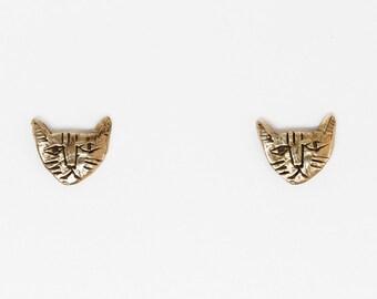 Brass tiny cat earrings